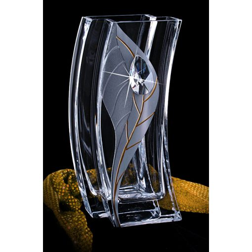 Lorentina ezüst leveles, oldalra ívelt Üvegváza SWAROVSKI® kristállyal 26cm