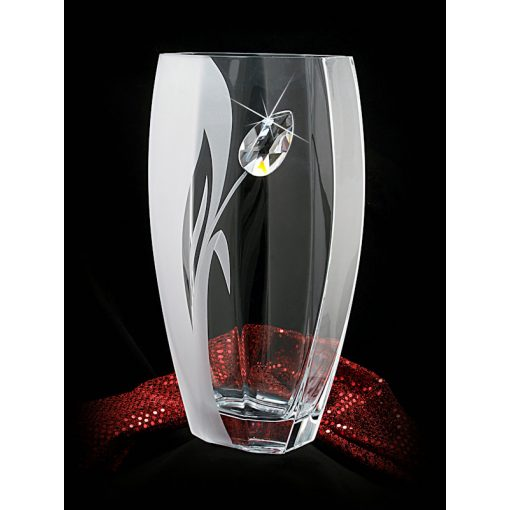 Lorentina tulipán mintás íves Üvegváza SWAROVSKI® kristállyal 35cm