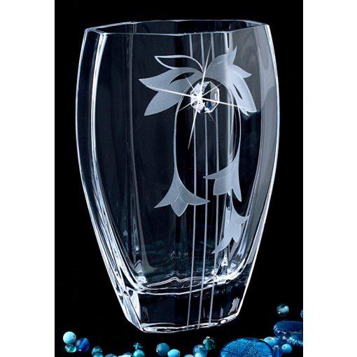 Lorentina 3 virág dekoros íves Üvegváza SWAROVSKI® kristállyal 20 cm